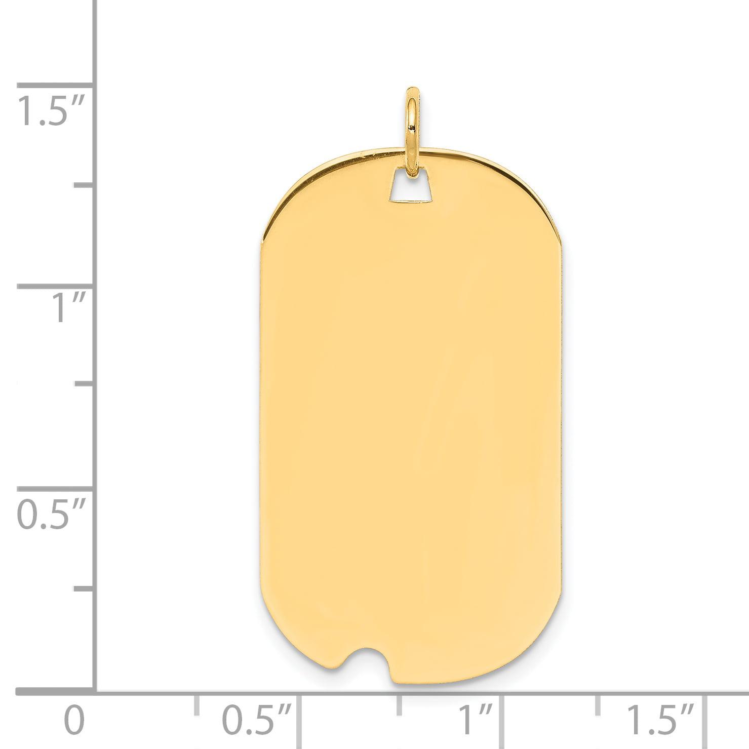 14K Yellow Gold Plain .035 Gauge Engravable Dog Tag w/Notch Disc Charm - image 1 of 2