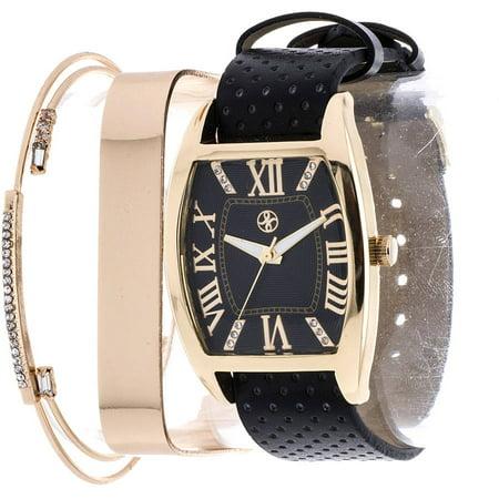 Fortune Women's Four-Piece Tonneau Watch Set, Black PU Leather