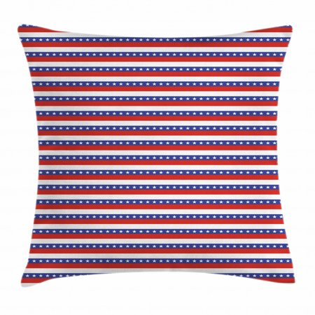 4th of July Throw Pillow Cushion Cover, Stars and Stripes of the Greatest Country in World Patriotic Pride, Decorative Square Accent Pillow Case, 18 X 18 Inches, Violet Blue Ruby White, by Ambesonne