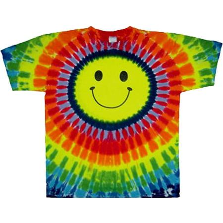 Tie Dyed Shop Cotton Rainbow Happy Smiley Face Tie Dye T Shirt Adult Large Adult Tye Dye T-shirt