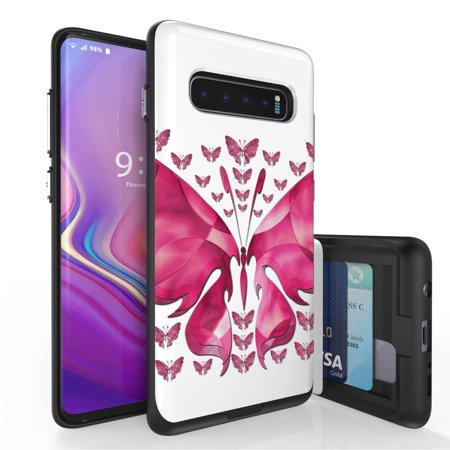 Beyond Cell Duo Shield Series Compatible with Samsung Galaxy S10, Slim Hybrid Shock Absorption Case with 2 Card Wallet Slide-Out Compartment and Atom Cloth - Pink Butterfly