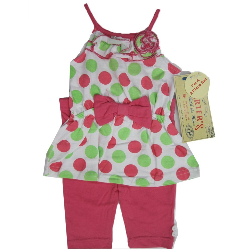 Carter's Baby Girls Green Pink Dotted Ruffle Flower Bow 2 Pc Pants Set 12-24M
