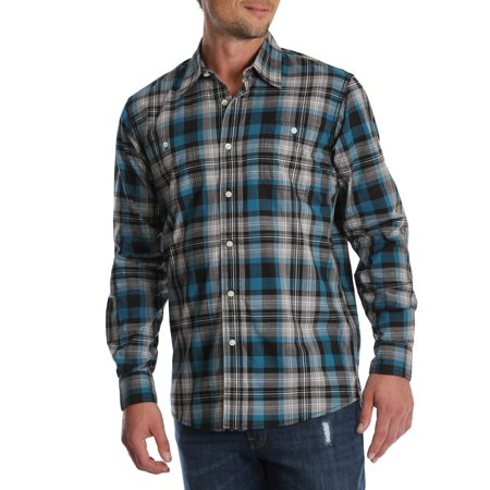 Wrangler Men's and big & tall long sleeve plaid shirt, up to size