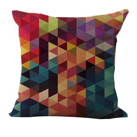 18 * 18 inches / 45 * 45cm Polyester Geometric Pattern Cushion Cover Decorative Sofa Car Waist Square Pillow Case Pillowcase Home Bay Window Bedside Decor ()