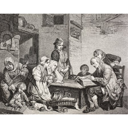 A Poor Family Gathers Around As The Father Reads From The Bible After A Work By Jean-Baptiste Greuze From Xviii Siecle Institutions Usages Et Costumes Published Paris 1875 Stretched Canvas - Ken Wels - Costume Bible