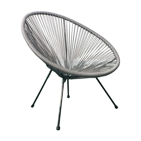 E-joy Acapulco Patio Chair/ All-Weather Weave Lounge Chair /Patio Sun Oval Chair /Indoor Outdoor Chairs/ Egg Chairs/patio furniture/ acapulco chair/ 1 Piece,Grey
