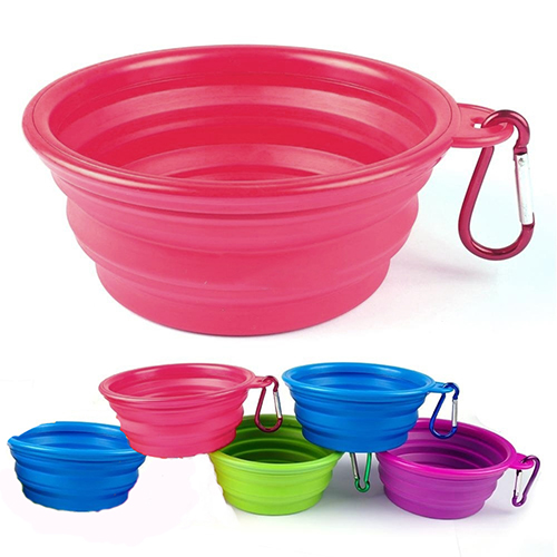 Heepo Foldable Dog Cat Pet Travel Food Feeding Bowl Water Dish Portable Silicone Bowl