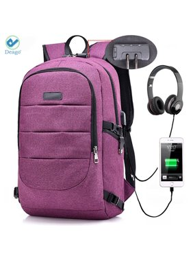 Deago Laptop Backpack, Business Anti Theft with lock Waterproof Travel Backpack with USB Charging Port for Laptops up to 17 inches (Purple)