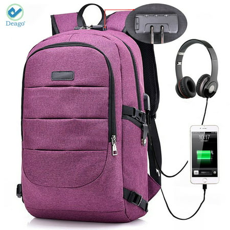 Deago Laptop Backpack, Business Anti Theft with lock Waterproof Travel Backpack with USB Charging Port for Laptops up to 17 inches (Purple) Black 15.4' Laptop Backpack