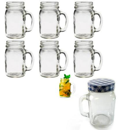 6 Mason Jar Mug With Handle Rustic Bridal Wedding Drinking