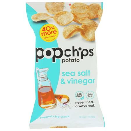 Popchips Potato Chip - Sea Salt - Vinegar , 5 OZ No Salt Potato Chips