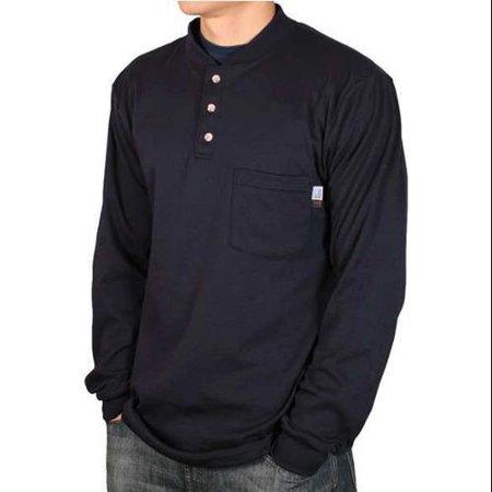 Safety Tip - NATIONAL SAFETY APPAREL C54PIXLBSLS FR Lng Sleeve Henley Shirt, Nvy, XL, Button