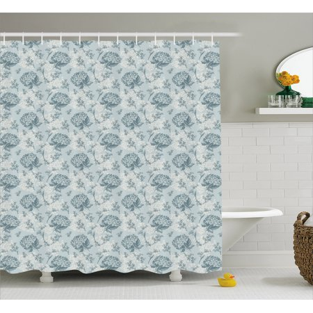 Floral Shower Curtain, Shabby Chic Vintage Style Flowers Feminine Romantic Pastel Toned Artsy Pattern, Fabric Bathroom Set with Hooks, 69W X 84L Inches Extra Long, Baby Blue Grey, by (Shabby Chic Baby Clothes)