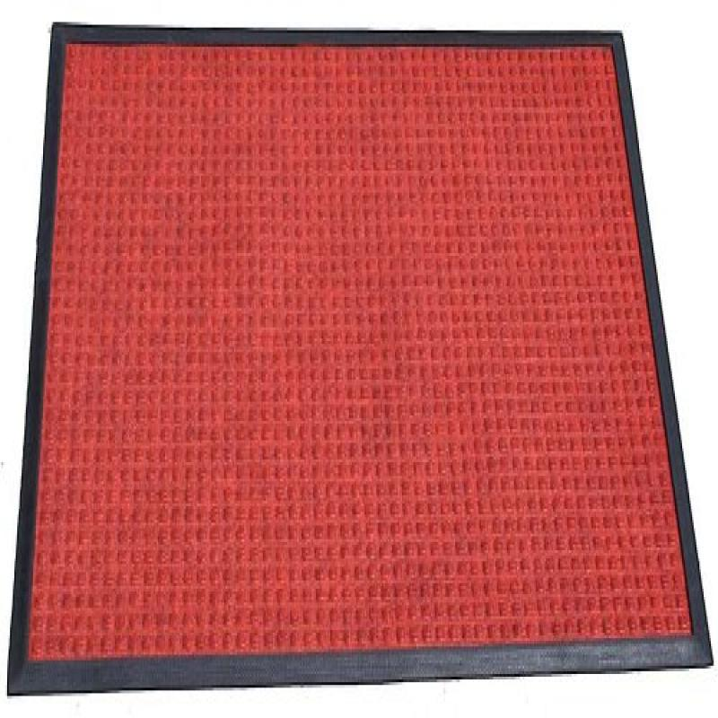 "Durable Corporation Polyester Stop-N-Dry Polyester Carpet Mat, for Indoors & Vestibules, 24"" Width x 36"" Length x 1/2"" Thickness, Red"