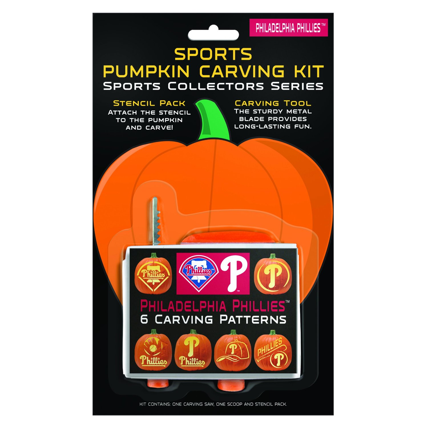 MLB Philadelphia Phillies Pumpkin Carving Kit, 6 Stencils, Orange