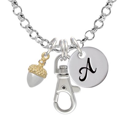 Small Acorn with Gold Tone Top and Crystals - A - Initial Badge Clip Necklace (Necklace For Badges With A Clip)