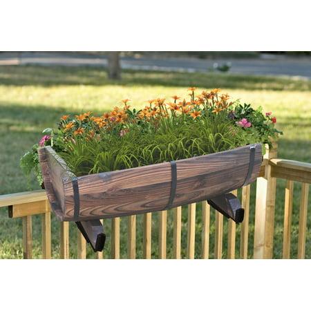 12 Inch Barrel Front - Half Barrel Adjustable Deck Railing Planter 16 inch