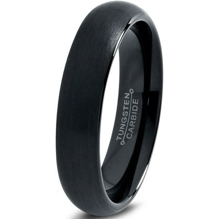 Tungsten Wedding Band Ring 2mm for Men Women Comfort Fit Black Dome Round Polished Brushed Lifetime Guarantee