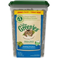 Feline Greenies Dental Natural Cat Treats, Tempting Tuna Flavor, 11 oz. Tub
