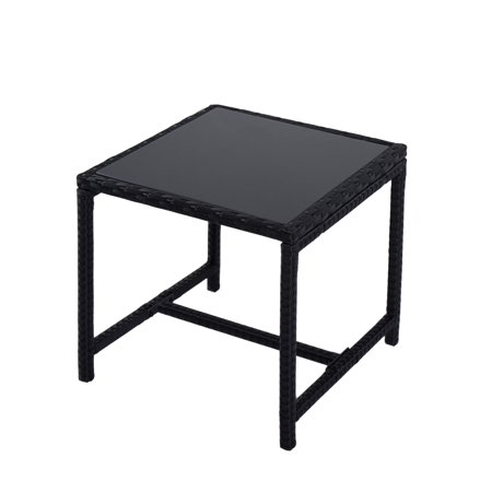 Kinbor Patio Wicker Rattan Square Side Table Glass Top ()