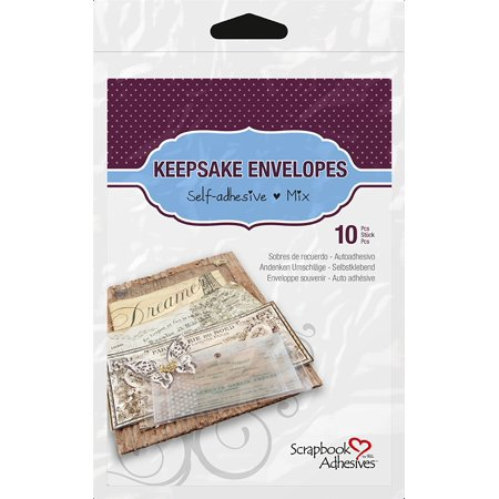 3L Scrapbook Adhesives Keepsake Envelopes, Mixed 10pk, Clear, 10 envelopes of various sizes included - 4 small (2x2), 3 medium (2x4), 2 large (3.5x4), 1.., By SCRAPBOOK ADHESIVES BY 3L