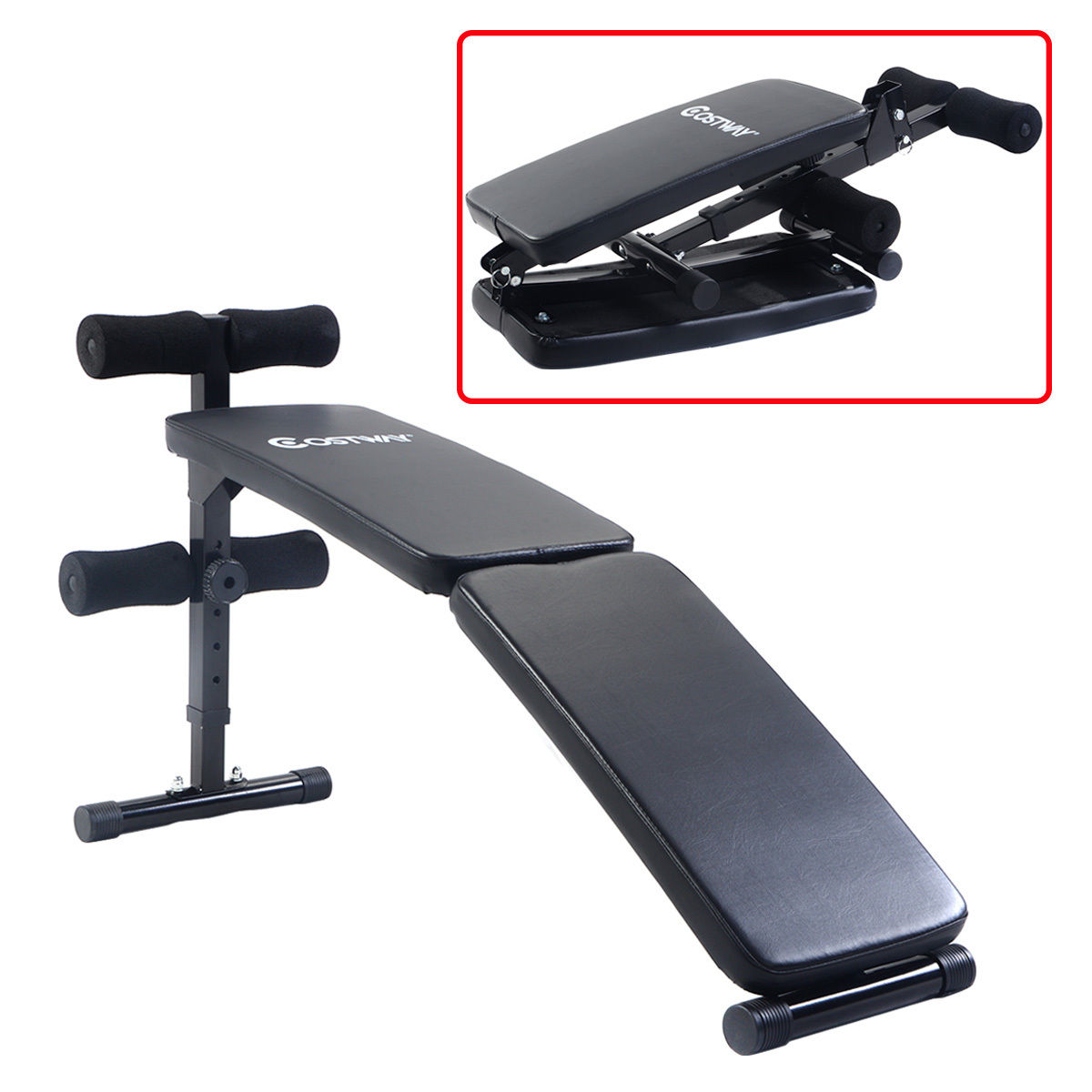 Costway Adjustable Folding Arc Shaped Sit Up Bench Gym Home Exercise Fitness Workout Walmart Com