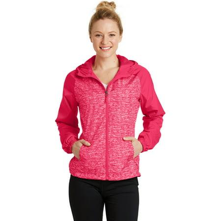 0f088f4a0 Sport-Tek® Ladies Heather Colorblock Raglan Hooded Wind Jacket ...