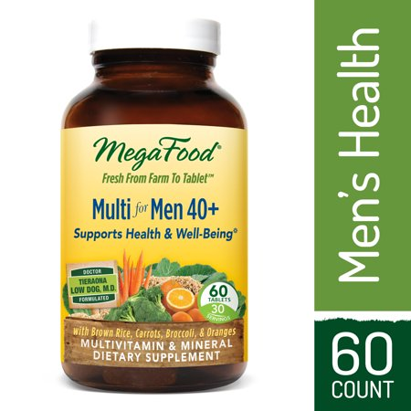 MegaFood - Multi for Men 40+, Multivitamin Support for Energy Production, Heart Health, and Memory, Mood, and Bones with Vitamin D3 and Methylated Folate, Vegetarian, Gluten-Free, Non-GMO, 60