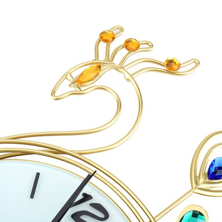 Greensen Horloge murale en forme de paon de style européen Creative Iron, pendule murale à diamant, horloge murale de style européen, horloge murale - image 4 de 8