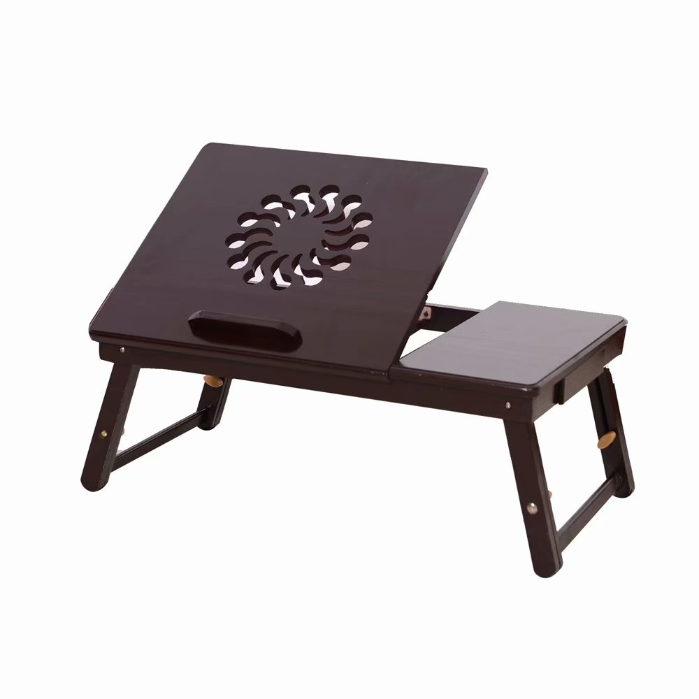 Akoyovwerve Portable Bamboo Folding Laptop Table Lap Desk Bed Computer Tray Stand Holder Wood Read, Coffee by