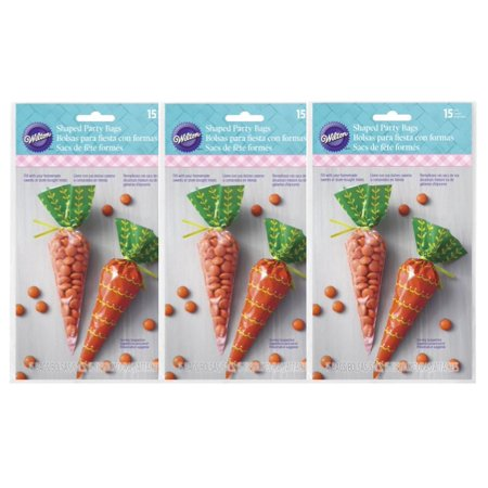 (3 Pack) Wilton Easter Carrot Mini Treat Bags, 15-Count (Easter Treat Bags)