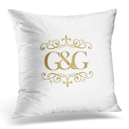 ECCOT Gold G Initial Ampersand Monogram Golden Abstract Pillowcase Pillow Cover Cushion Case 16x16 inch