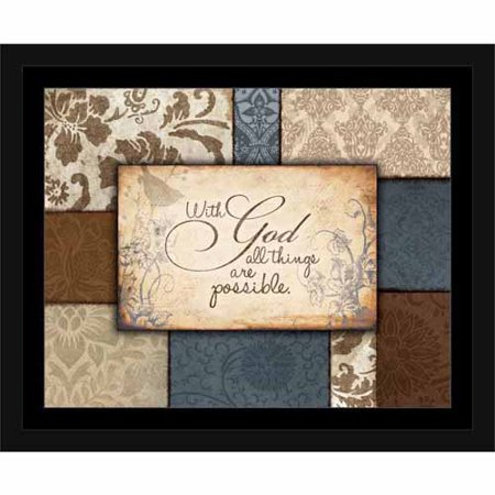 Possibilities with God Traditional Abstract Pattern Panel Religious Painting Blue & Brown, Framed Canvas Art by Pied Piper Creative