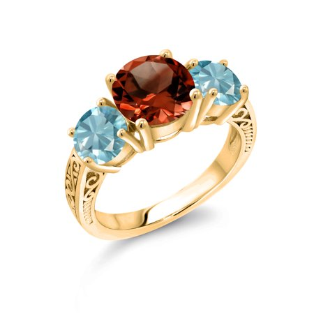 4.90 Ct Round Red Garnet Blue Zircon 18K Yellow Gold Plated Silver Ring