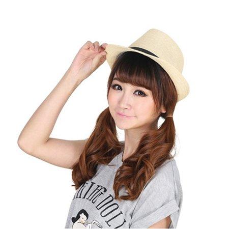 Stylish Hat Summer Straw Hat Cap Topee Fedora Trilby Panama Hat Cap Jazz Hat - image 1 de 8