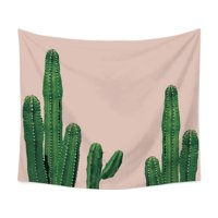 Watercolor Cactus Printed Tapestry Polyester Fabric Hippie Bohemian Print Home Decor Wall Hanging Tapestry Beach Throw Blanket