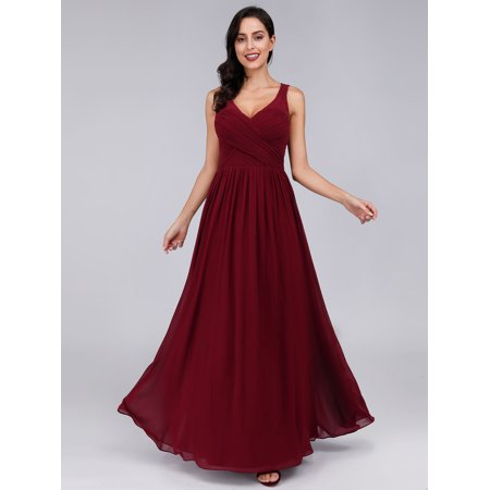 Ever-Pretty Womens Ruched Bust Corset Back Wedding Party Formal Evening Bridesmaid Dresses for Women 88712 Burgundy US4