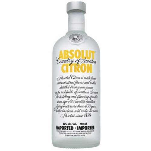 Absolut Vodka Sweden Citron 750ml Bottle