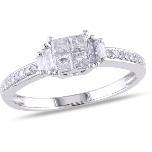 1/2 Carat T.W. Princess, Baguette and Round-Cut Diamond Engagement Ring in 10kt White Gold