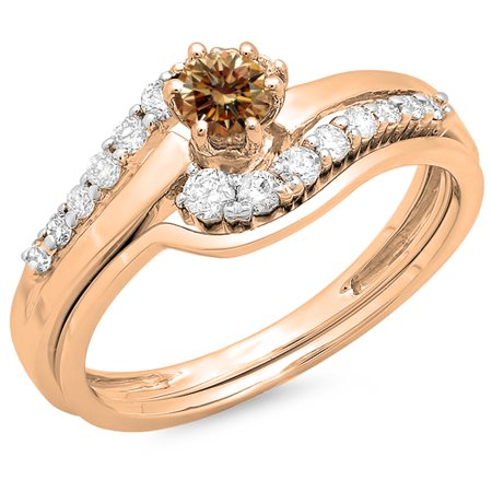 18k White Gold Twist (0.55 Carat (ctw) 18K Rose Gold Round Champagne & White Diamond Ladies Twisted Style Bridal Engagement Ring With Matching)