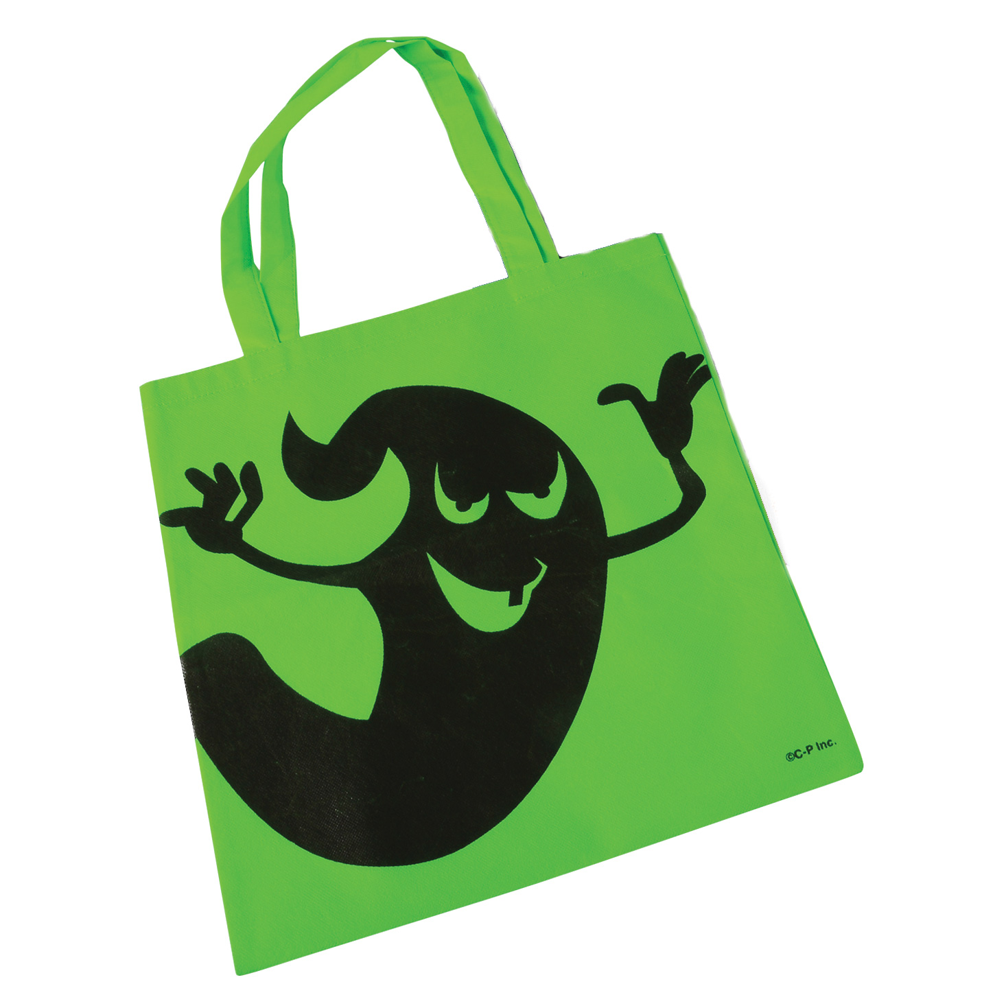 "Halloween Ghostly 16"" Candy Trick-or-Treat Tote Bag with Handles, Green"