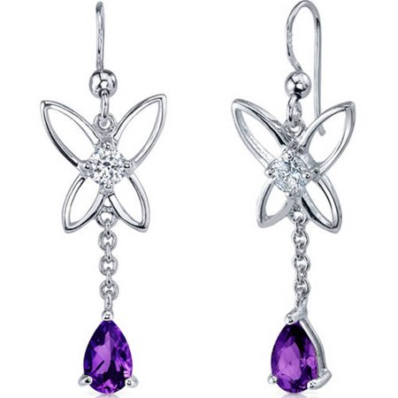 1.50 Carat T.G.W. Pear-Shape Amethyst Rhodium over Sterling Silver Drop Earrings