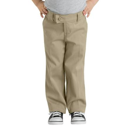 Stretch Cotton Straight Leg Pants - Genuine Dickies Girls School Uniform Slim Fit Straight Leg Stretch Twill Pants (Little Girls)