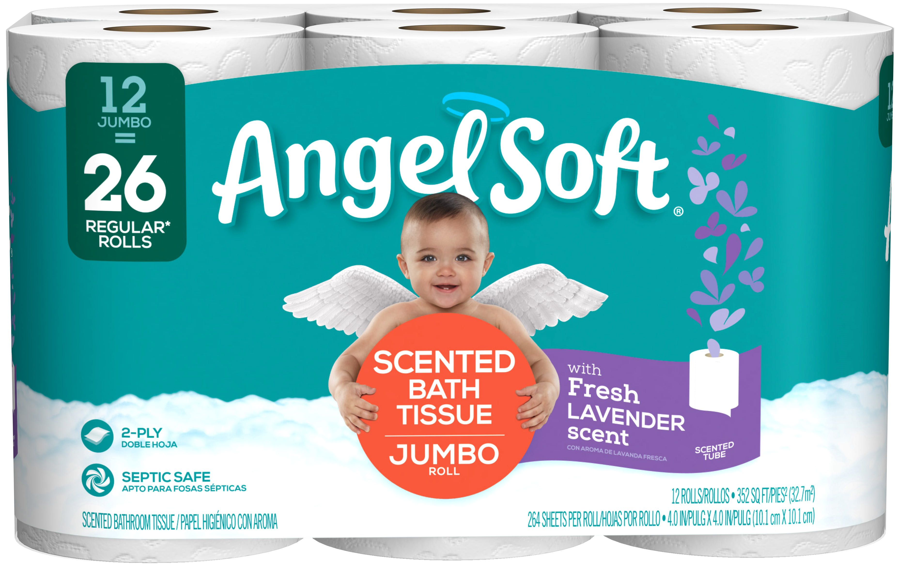 Angel Soft Toilet Paper With Fresh Lavender Scent 12 Jumbo Rolls Walmart Com Walmart Com