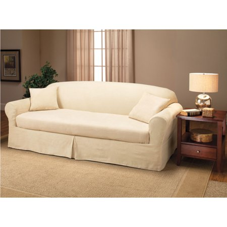 Madison home suede 2 piece slipcover sofa cream for Suede slipcovers