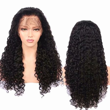 BOWIN Human Hair Lace Front Wig 150% Density Brazilian Virgin Curly Hair with Baby Hair Natural Color 8