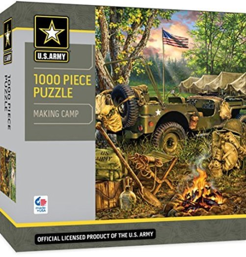 Army Jeep with Campfire 1000 Piece Puzzle MasterPieces U.S Army Making Camp