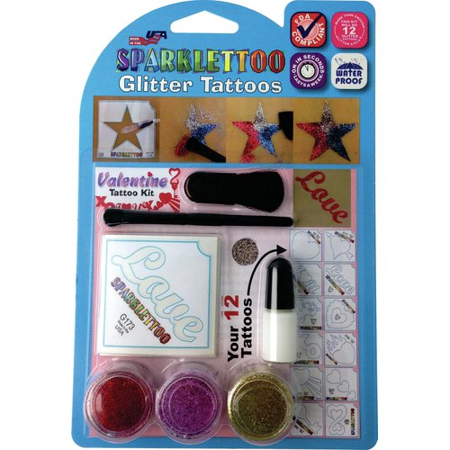 RUBY RED PAINT, INC. 16 Piece Valentines Glitter Tattoo Set