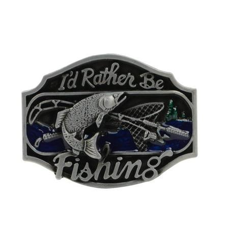 I'd Rather Be Fishing Men's Belt Buckle Men/Women Fashion Fish Tackle Mens - Fish Jacquard Belt
