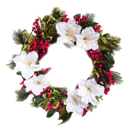 Mills Floral Amarylis and Berry Wreath